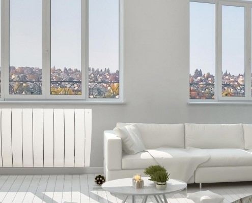 Ultrad smart electric radiator in living room